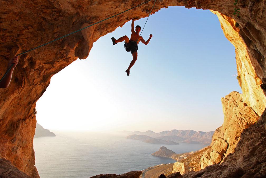 Rots klimmer Kalymnos eiland Griekenland