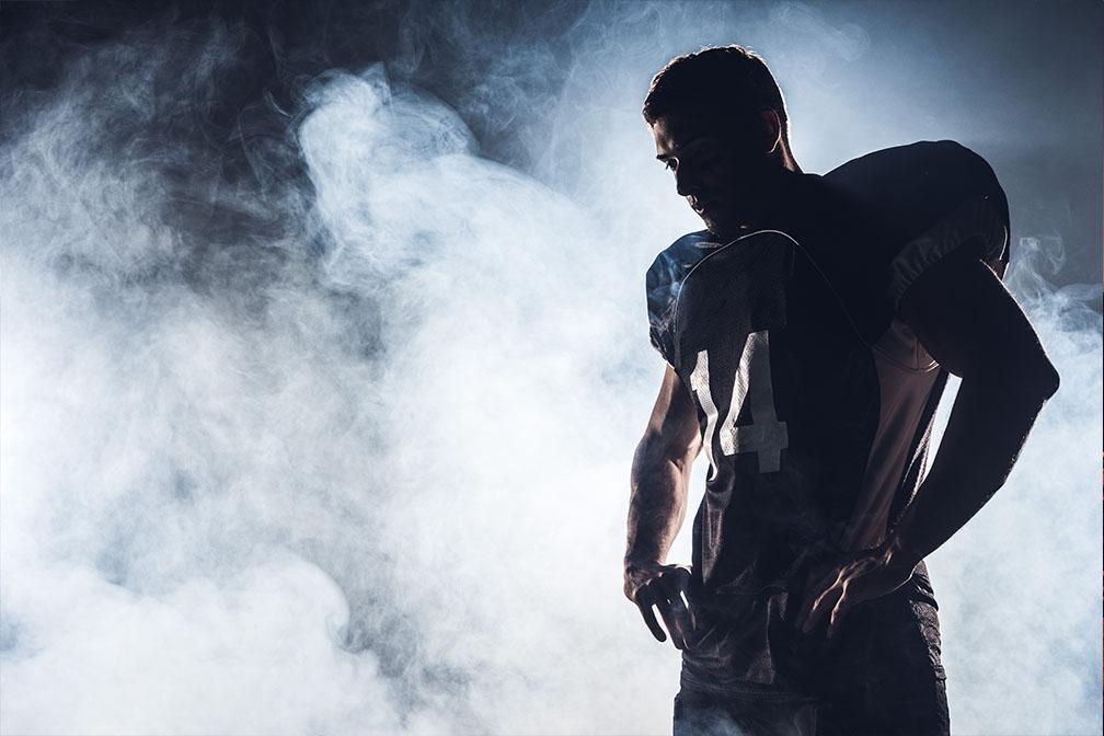 Donker silhouet american football speler