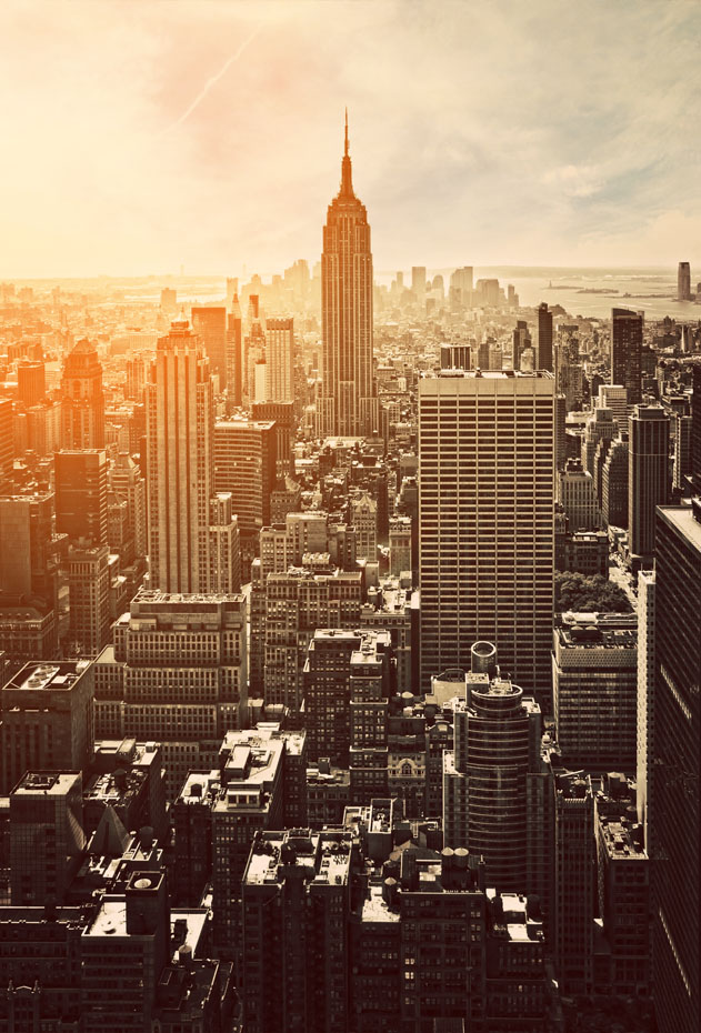 Zonsondergang in Manhattan