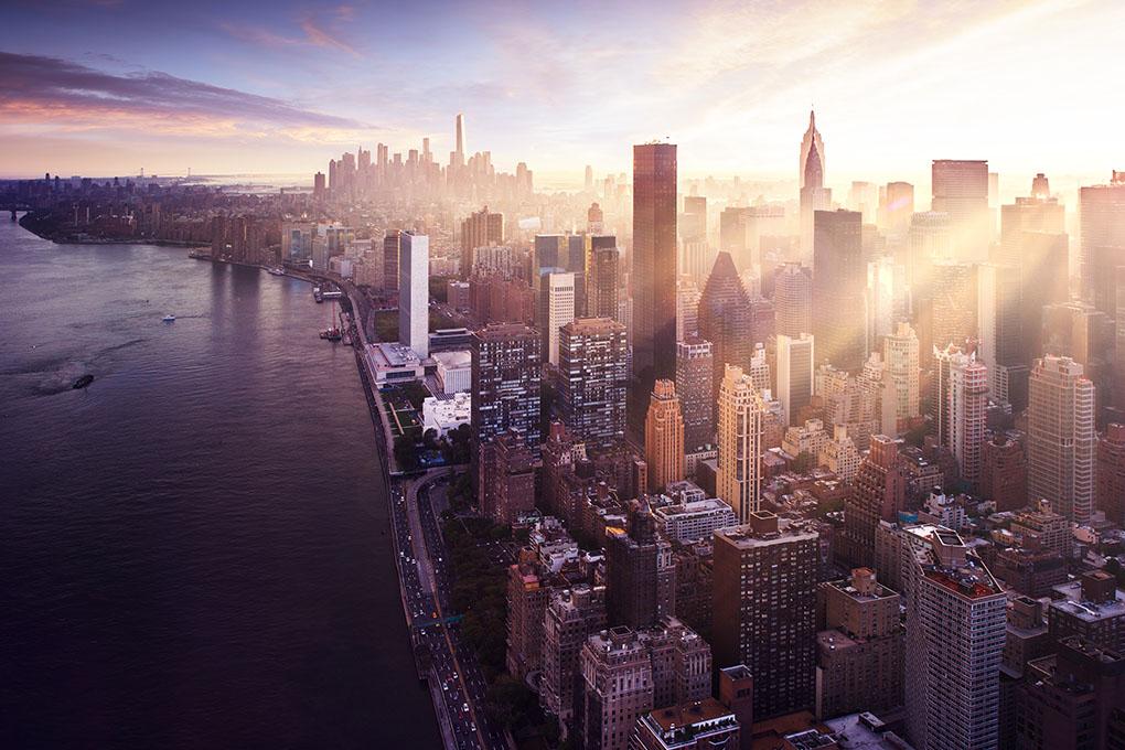 New York City kleurrijke zonsondergang