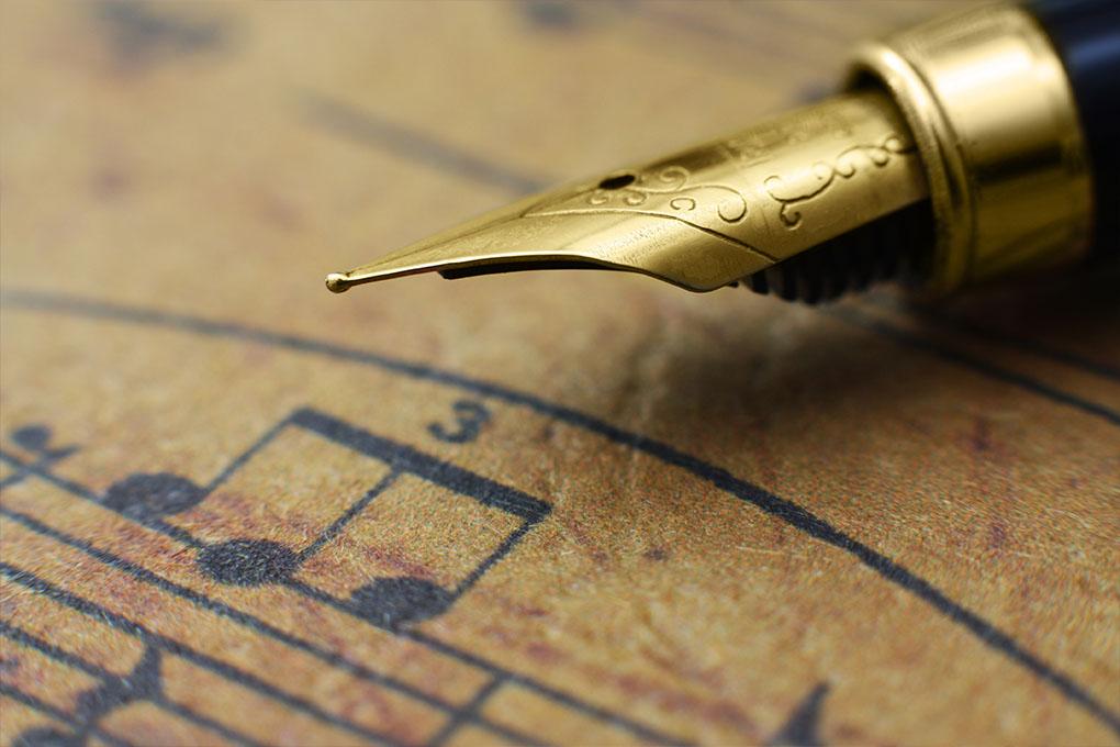 Muziek blad en pen