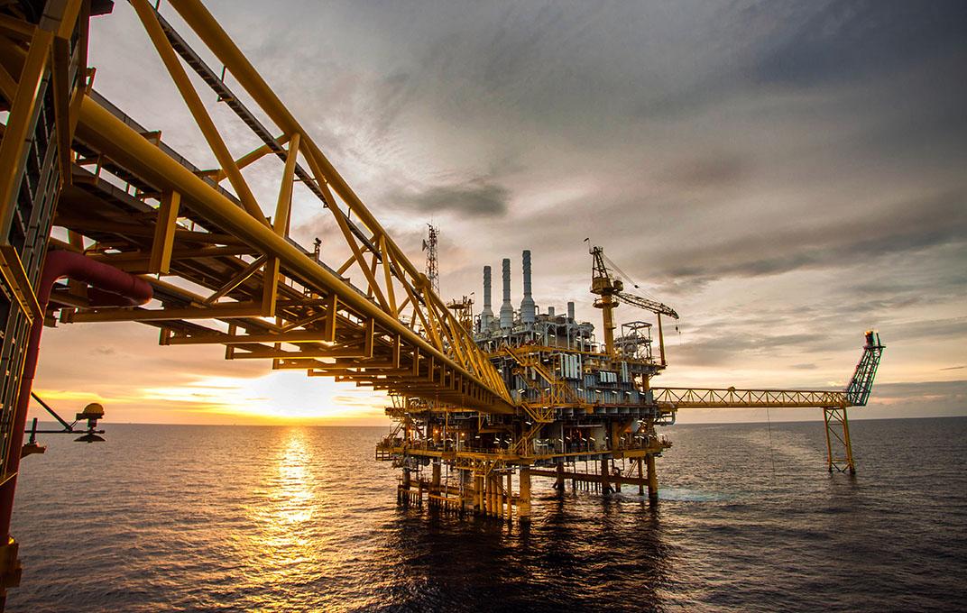 Platform van de olie en gasindustrie in de Golf