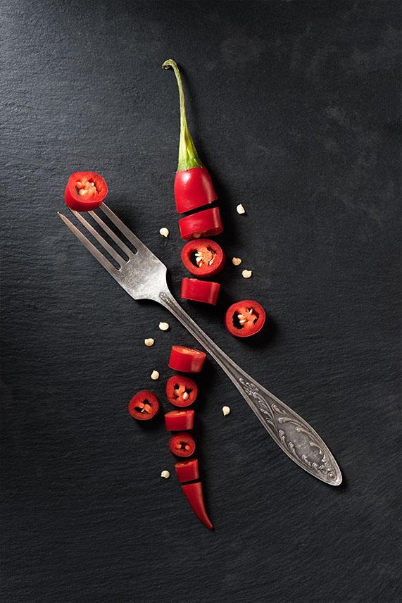 Gesneden rode chilipeper