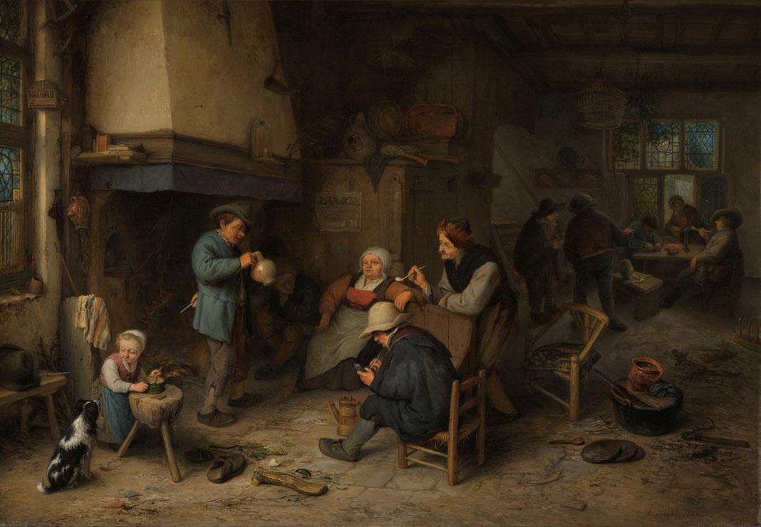 Boerengezelschap binnenshuis, Adriaen van Ostade, 1661