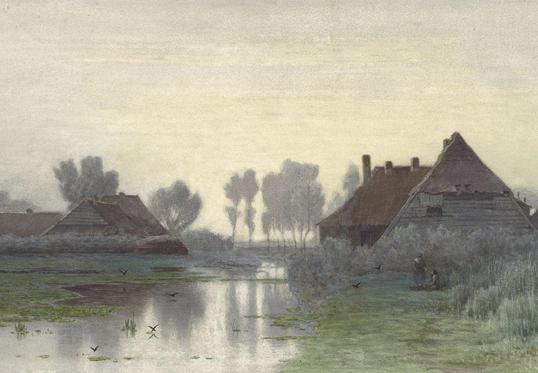 Boerenwoningen aan het water bij ochtendnevel, Paul Joseph Constantin Gabriël, 1838 - 1903