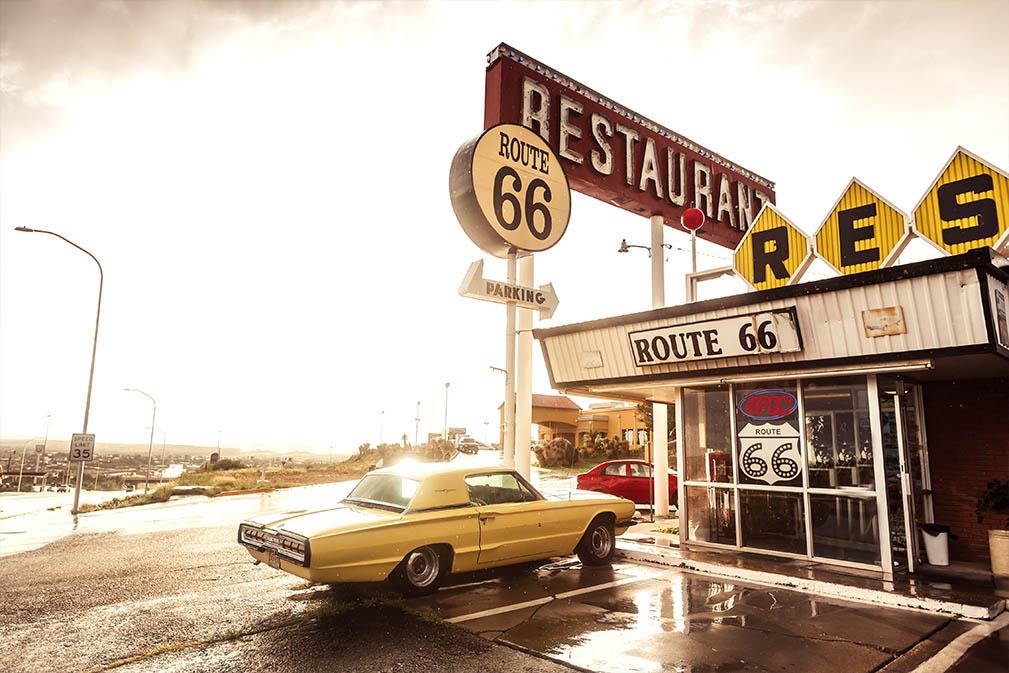 Restaurant teken langs historische route 66