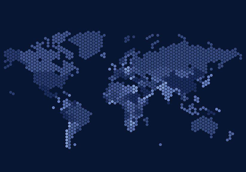 Wereldkaart van zeshoekige stippen