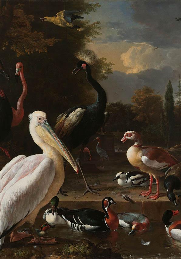 Het drijvend veertje, Melchior d'Hondecoeter, ca. 1680